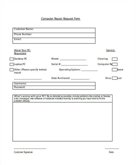 computer service request form template request forms in word