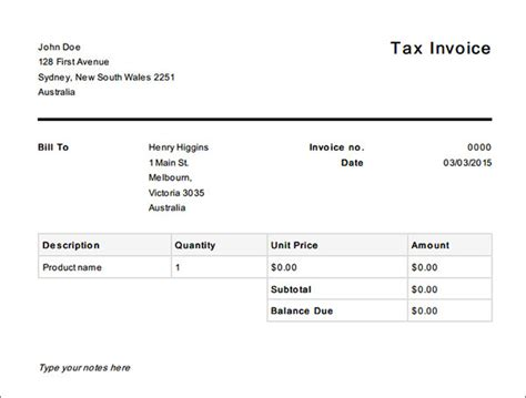 free tax invoice template 16 tax invoice template free documents in word