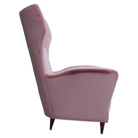 pale pink velvet chair pair of italian modern wingback chairs in light pink