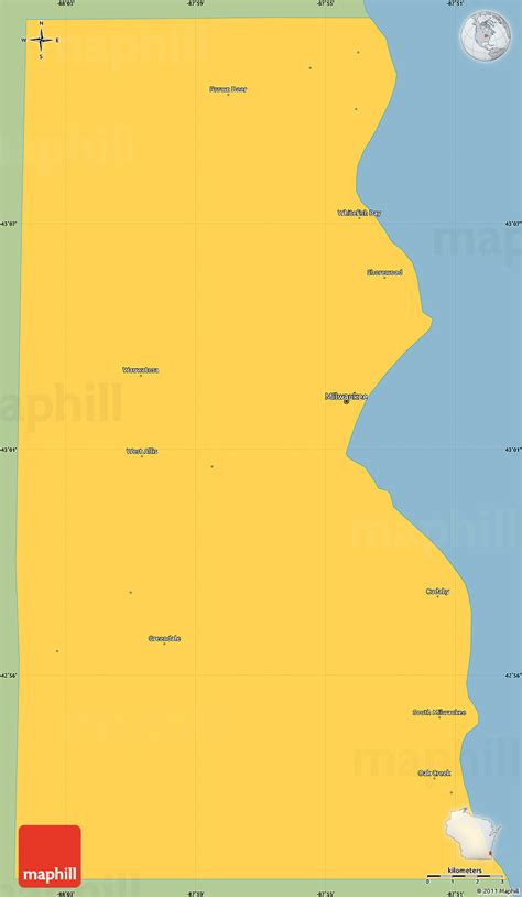 Simple Search Milwaukee Savanna Style Simple Map Of Milwaukee County Single Color Outside