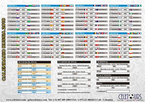 Calendario A Rusia 2018 Calendario Partidos Russia 2018 Celetours
