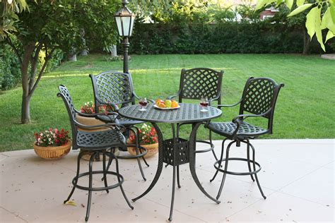 patio furniture bar set cast aluminum 42 quot table 5pc nassau