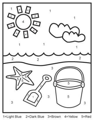 printable beach activity sheets color by numbers 2 beach scene vakantie lesidee 235 n