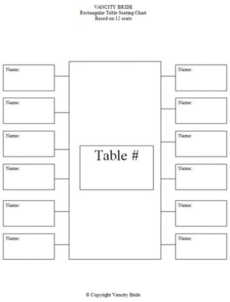 table chart template free individual table seating charts free wedding