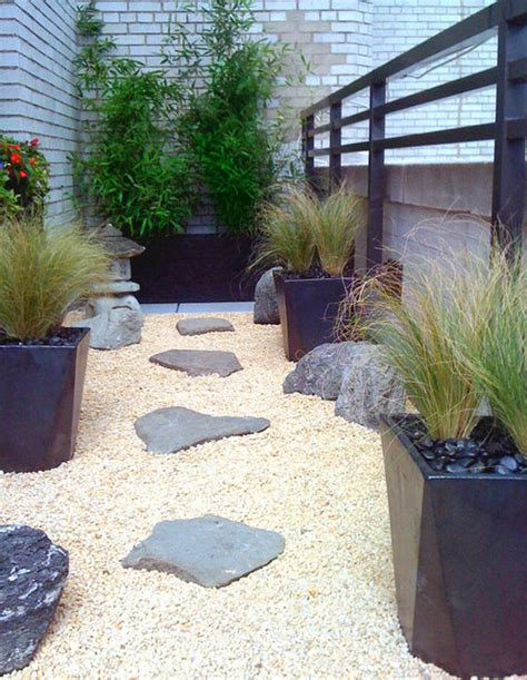 Rock Garden With Potted Plants Manhattan Roof Garden Terrace Deck Container Plants Zen Rock Garden Pots Gr Contemporary