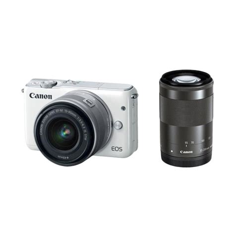 Canon Eos M3 Kit 15 45mm 55 200mm Canon M3 Eos M3 jual canon eos m3 kit ef m15 45mm with 55 200mm kamera mirrorless white harga