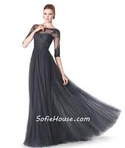 formal sheer illusion neckline long black lace beaded