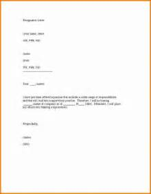 resignation template 4 resignation letter sle one month notice period