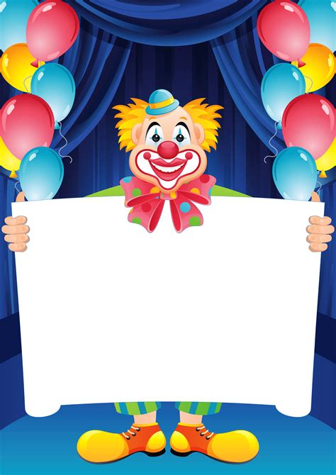 transparent birthday frame with clown clip art library
