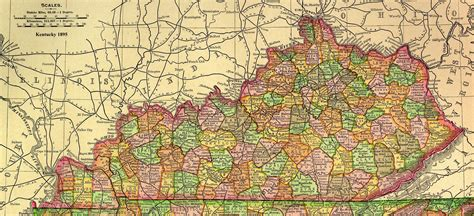 kentucky map counties roads of state geographic materials