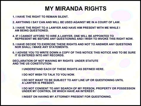 printable rights card my miranda rights