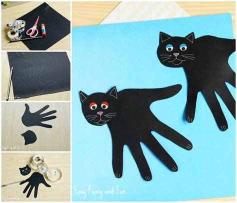 cat crafts handprint black cat craft easy peasy and