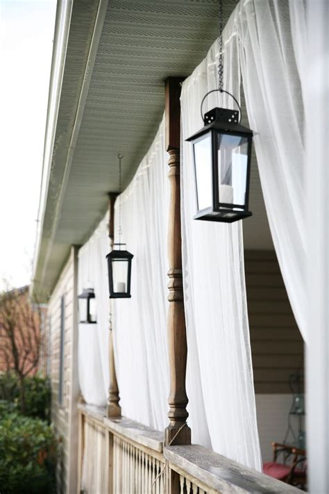 Front Porch Curtains Front Porch Mosquito Netting Curtains And Lanterns Backyard Landscaping White