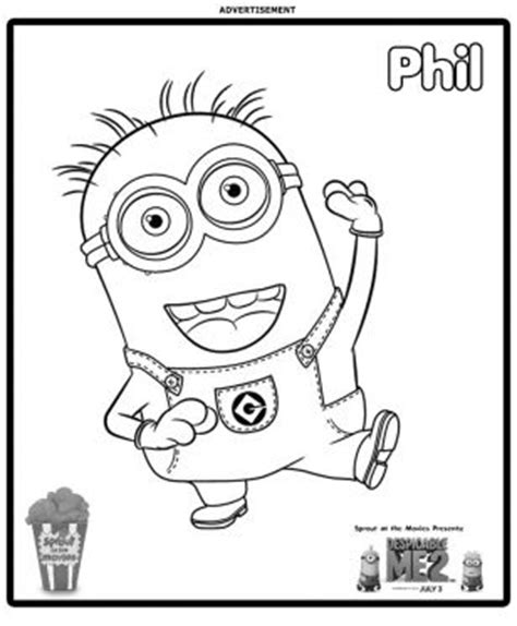minions coloring pages of phil fun learn free worksheets for kid despicable me 2