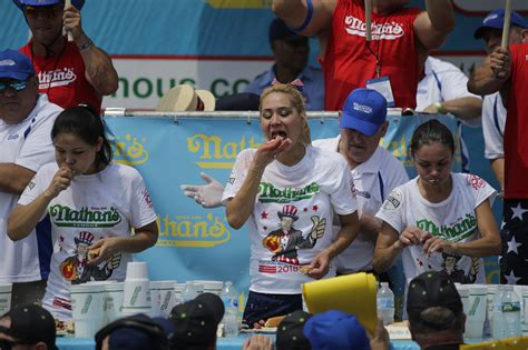 female hot dog eating contest winner joey chestnut wins 2018 nathan s hot dog eating contest time