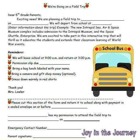 school field trip permission slip template for word