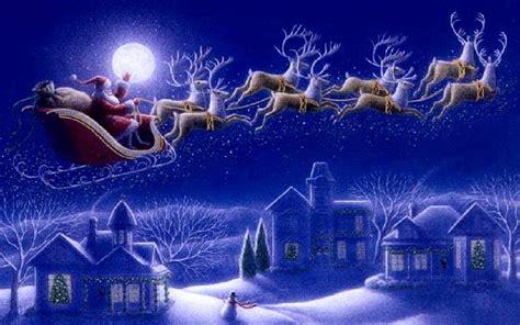 santa claus sleigh  reindeer greeting card wallpaper hd  wallpaperscom