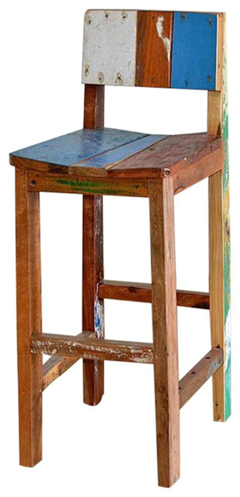 Boat Chair Bar Stools by Reclaimed Bali Boat Wood Bar Chairs Tropical Bar