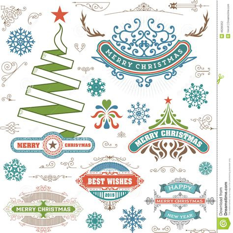 christmas decoration design elements merry christmas  happy stock vector image