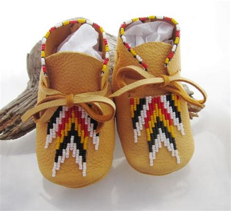 Handmade American Moccasins - handmade baby moccasins in the four direction colors made of