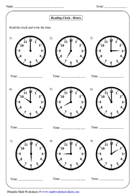 printable clocks to the hour telling time worksheets