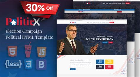 Politicx Political Candidate Election Caign Html Template By Httpcoder Political Caign Website Templates Free