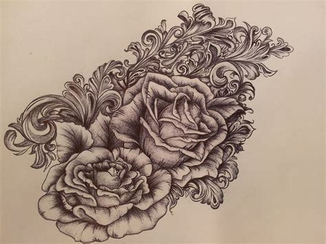 victorian tattoos behance scrollwork roses by