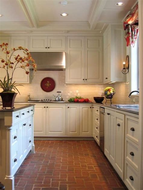 kitchen and floor decor kitchen brick floor home design ideas pictures remodel