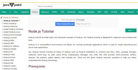 tutorial node js website node js tutorial javatpoint on air code