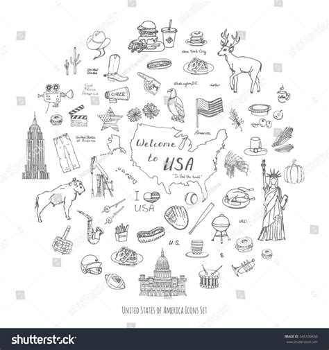 fast food doodle god doodle usa set vector stock vector 345109430