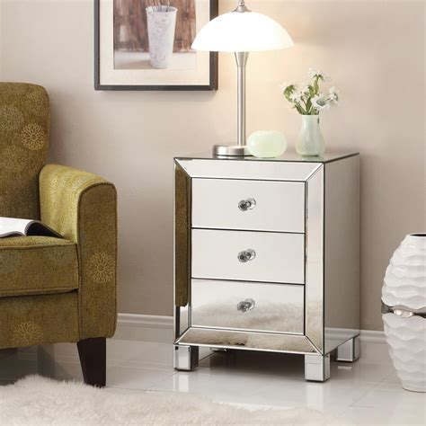mirrored glass accent table with drawer ave six reflections silver mirror mirrored end table