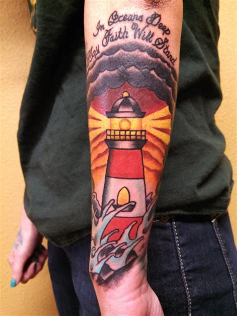 traditional lighthouse tattoo by josh paul yelp
