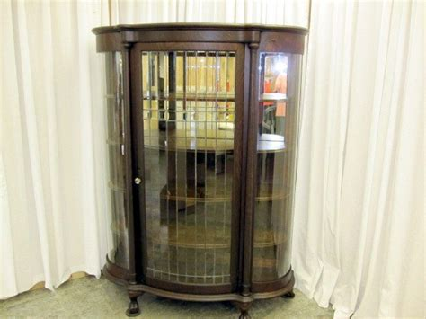 1800 S Lead Glass China Cabinet W Curve Glass Sides For Antique China Cabinets For Sale