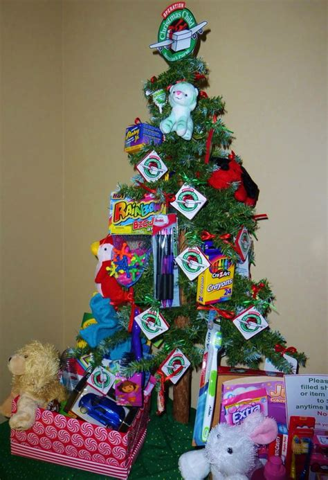 this christmas tree to promote operation christmas child