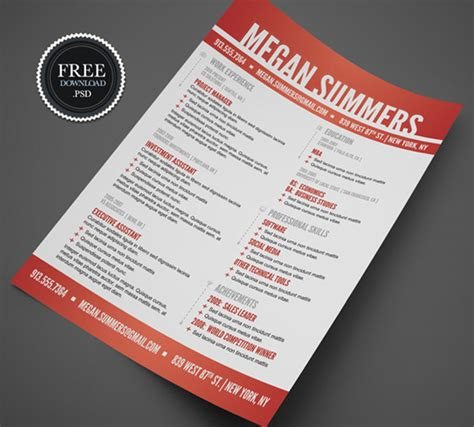 free resume templates creative 28 free cv resume templates html psd indesign web