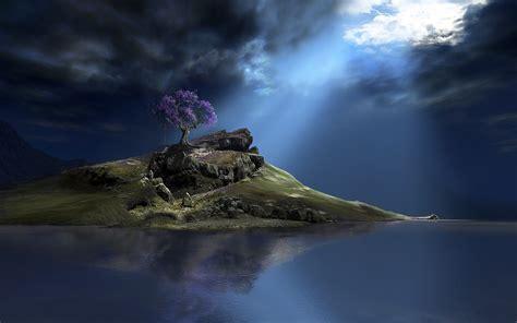 digital art cgi nature hill mountain rock trees
