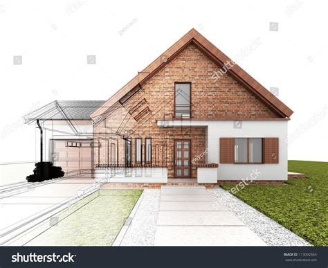 classic house design progress architectural drawing stock