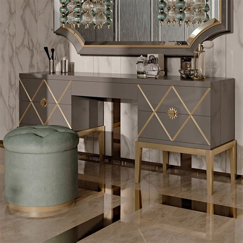 deco inspired italian designer 5 drawer dressing table