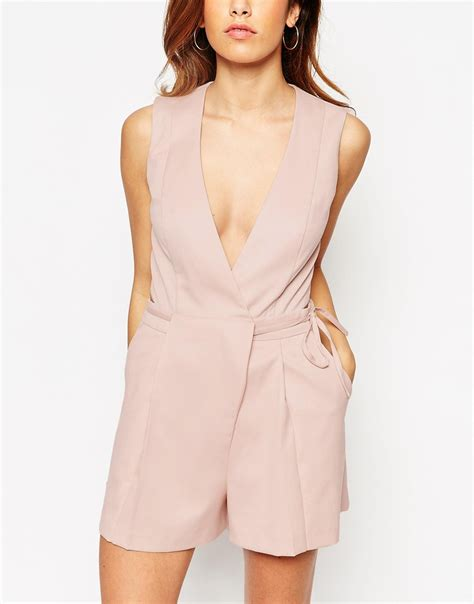 Asos Origami Jumpsuit - asos playsuit with origami wrap in pink lyst