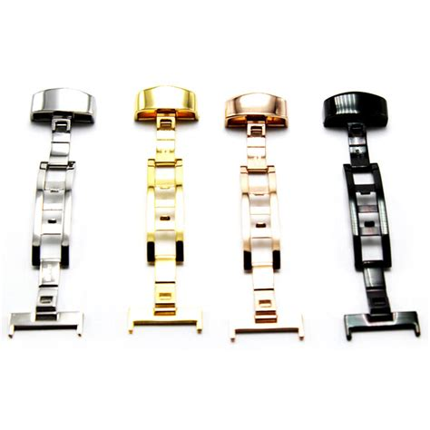 Clasp Buckle Stainless Steel Jam Tangan 24mm Hitam Clasp Buckle Stainless Steel Jam Tangan Size 24mm Silver