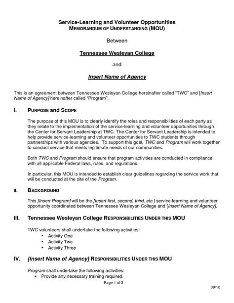 memorandum of understanding business partnership template
