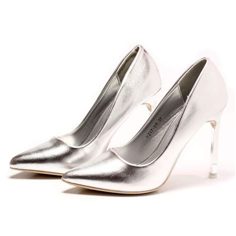 High Heels Krd14 Silver 33 silver high heel shoes marfa co diamonds
