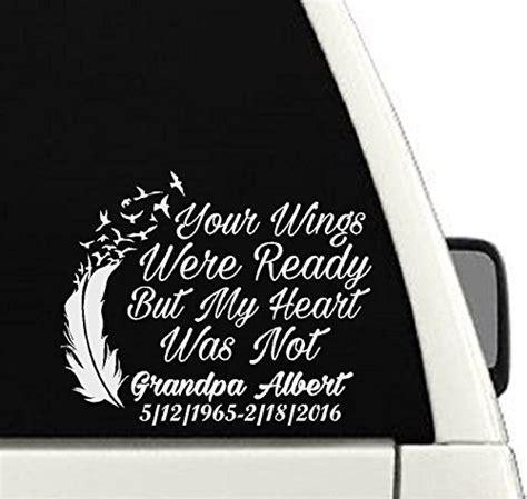 Auto Decals In Memory Of by Your Wings Were Ready But My Was Not Memorial Car