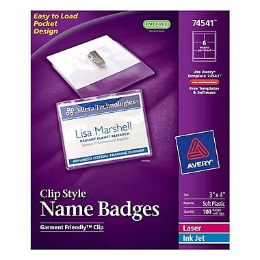 avery 3x4 name badge template avery top loading clip style name tags 3 quot x 4 quot 100 pack