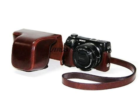 Leather For Sony Alpha A6000 Hitam protective pu leather with shoulder for