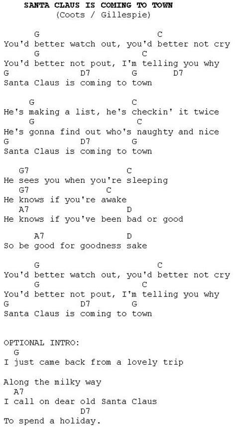 printable lyrics to santa claus is coming to town ukulele ukulele chords santa claus coming town ukulele