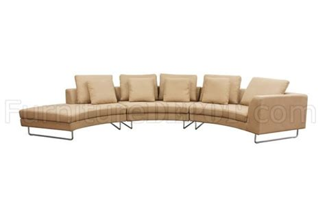 modern curved sectional sofa tan fabric 3pc curved modern sectional sofa w steel legs