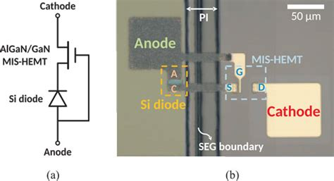schottky barrier diode embedded algan gan switching transistor silicon and iii nitride high voltage monolithic cascode diode
