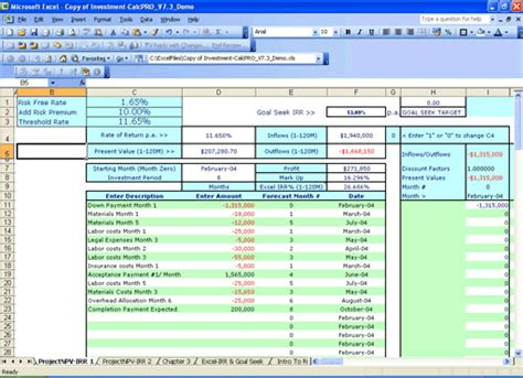 npv excel template investment calc npv irr analysis millennium model advisor