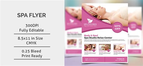 Spa Flyer Template Free Spa Brochure Templates